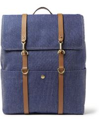 Mismo Leathertrimmed Twill Backpack - Blue