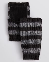 Paul Smith Striped Alpaca Fingerless Mittens with Suede Patches - Lyst