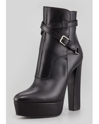 Saint Laurent Leather Platform Ankle Bootie Black - Lyst