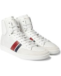 Saint Laurent Sl04H Leather And Mesh High Top Sneakers - Lyst