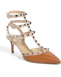 Valentino Women'S 'Rockstud' Triple Ankle Strap Pump - Lyst