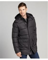 Vince Camuto Charcoal Cotton Flannel and Daowl Filled Hooded Parka - Lyst