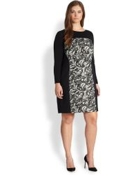 Kay Unger Patterned Mesh-Detail Dress black - Lyst