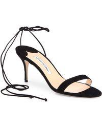 Manolo Blahnik Minchi Suede Ankletie Sandals - Lyst