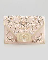 Marchesa Valentina Floral Beaded Envelope Clutch Bag Pinkmulti - Lyst