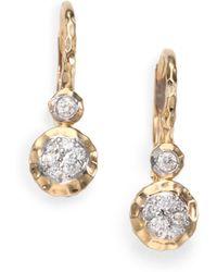 Phillips House - Diamond 14k Gold Double Drop Earrings - Lyst