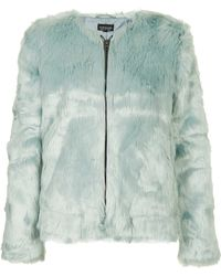 TOPSHOP Faux Fur Bomber Jacket - Blue