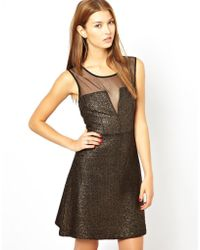 Aryn K. Structured Skater Dress With Mesh Insert - Black