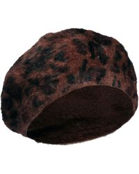 Cheap Monday Angora Beret Hat in Leopard - Brown