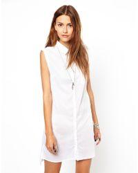 Cheap Monday Sleeveless Shirt Dress - White