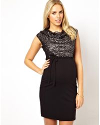 Asos Maternity Mamalicious Embellished Front Fitted Sleeveless Dress - Lyst