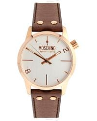 Boutique Moschino - Rose Gold Ladies Watch with Brown Leather Strap - Lyst