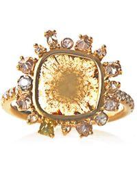 NSR Nina Runsdorf - Sliced Diamond Yellow Gold Ring - Lyst