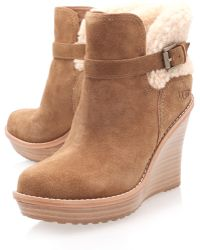 Ugg Chestnut Anais Wedge Boots - Lyst