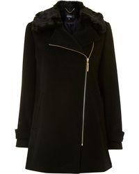 Ellen Tracy - Zip Up Coat With Faux Fur Collar - Lyst