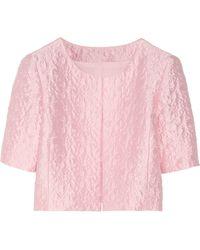 Oscar de la Renta Cropped Cottonblend Brocade Jacket - Lyst