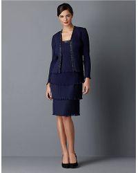 Patra - Navy Pleated Chiffon Jacket Dress - Lyst