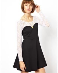 Wal-G Skater Dress with Contrast Sleeves - Black
