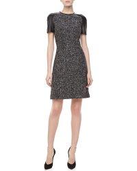 Michael Kors Leathersleeve Tweed Dress Blackbanker - Lyst