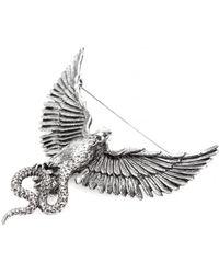 Roberto Cavalli Brass Phoenix Brooch - Metallic