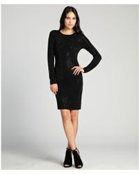 Alice + Olivia Black Beaded Merino Wool 'Delaney' Knit Long Sleeve Dress - Lyst
