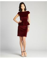 Alice + Olivia Red Rose Print Stretch Cotton Velvet 'Jule' Cap Sleeve Peplum Dress - Lyst