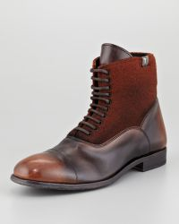 7 For All Mankind | Leather Wool Laceup Boot Brown | Lyst