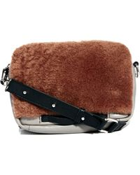 Asos White Leather Fauxshearling Cross Body Bag - Lyst
