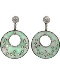 Bochic - Green Jade Diamond Round Drop Earrings - Lyst