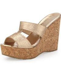 Jimmy Choo Porter Glitter Wedge Sandal - Lyst