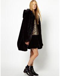 Monki Hooded Fur Coat - Black