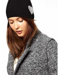 Boutique Moschino Moschino Cheap and Chic Embellished Heart Beanie - Black
