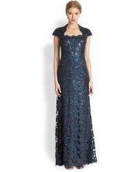 Tadashi Shoji Sequin Lace Capsleeve Gown - Lyst