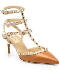 Valentino Bicolor Leather Rockstud Pumps - Lyst