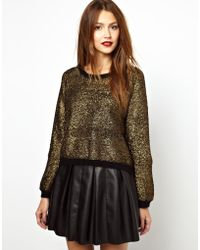 Zadig & Voltaire Metallic Foiled Knitted Sweater - Lyst