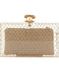 Charlotte Olympia Pandora Pearlinshell Clutch Bag Clear - Lyst