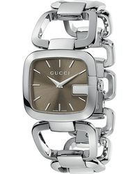 Gucci G Collection Polished Steel Watch Grey - Lyst