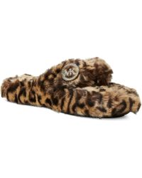 Michael Kors Faux-Fur Jet Set MK Thong Slippers - Lyst