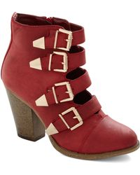 ModCloth Edge Of Eminence Bootie in Scarlet - Lyst