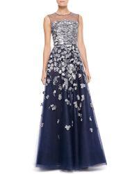 Oscar de la Renta Petalembroidered Tulle Gown Navy - Lyst