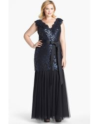 Tadashi Shoji Sequin Lace Tulle Mermaid Gown - Lyst