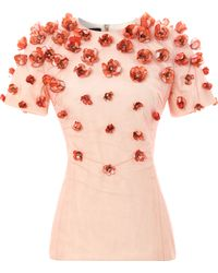 Bibhu Mohapatra Baby Tulip Embellished Top pink - Lyst