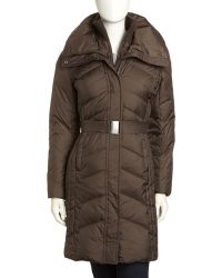 Marc New York Long Belted Puffer Olive - Green