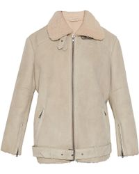 Paul & Joe 11 Shearling Ls Flying Coat beige - Lyst