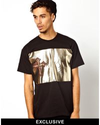Rook - Tshirt with Gold Leopard Cross Print - Lyst