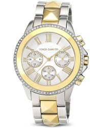 Vince Camuto Twotone Chronograph Watch 42mm - Metallic