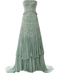 Bibhu Mohapatra Strapless Hand Pleated Chiffon Gown with Antique Silver Beading green - Lyst