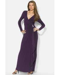 Lauren by Ralph Lauren Long Faux Wrap Matte Jersey Gown - Lyst