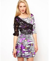 Olivia Rubin - Draped Lace Overlay Dress with Full Skirt - Lyst