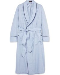 Emma Willis Cotton And Wool-Blend Dressing Gown - Blue
